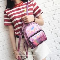 Spesifikasi Fashion Gadis Hologram Laser Kulit Tas Sekolah Tote Backpack Satchel Pink Terbaik