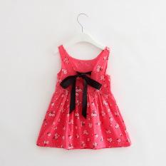 Fashion Gadis Manis Katun Putri Gaun Cherry Bunga Gaun-ROSE Merah Floral