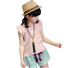 Jual Fashion Gadis Two Piece Suit Summer Baru Anak Pakaian Katun Lengan Pendek Pink Intl Intl Unbranded Original
