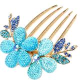 Jual Fashion Hair Comb Clip Alloy Rhinestone Hairpin Barrette Flower Pattern Girls Hair Accessories Blue