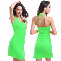 Fashion Leher Yang Menggantung Rok Beach Dress (Hijau-16)-Intl