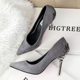 Jual Beli Fashion Tinggi Sepatu Hak Tinggi Runcing Untuk Pernikahan Wanita Sepatu Abu Abu