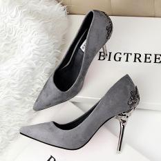 Toko Fashion Tinggi Sepatu Hak Tinggi Runcing Untuk Pernikahan Wanita Sepatu Abu Abu Lengkap