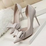 Toko Fashion Tinggi Sepatu Bertumit Wanita Pompa Tipis Tumit Bow High Heels Tertutup Runcing Untuk Pernikahan Wanita Wanita Sepatu Abu Abu Lengkap