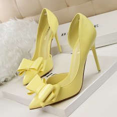 Fashion Tinggi-Sepatu Bertumit Wanita Pompa Tipis Tumit Bow High Heels Tertutup Runcing untuk Pernikahan Wanita Wanita Sepatu (Kuning)