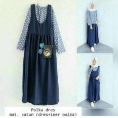 Fashion Hijab Remaja Murah Polkadot Overall Set Murah Fashion Muslim Set Inner Dan Rok Kodok