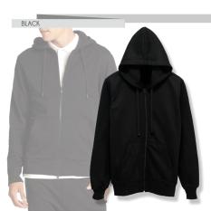 Jual Fashion Hoodie With Zippper Hitam Baru