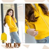 Toko Fashion Hoodie With Zippper Kuning Indonesia