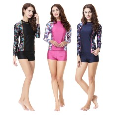 Fashion Islam Swimwear Swimsuit Islami Jilbab Wanita Swimwear Tengah Kerah Colorful Swimwear Muslim Renang Pakaian Renang Swimsuit (hitam) -Intl