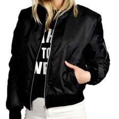 Fashion Jaker Bomber Wanita Hitam Keren Original