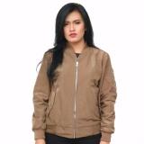 Review Fashion Jaket Bomber Wanita Cream Polos M L Xl Di Dki Jakarta