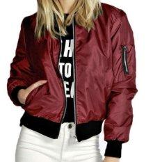 Toko Fashion Jaket Bomber Wanita Maroon Online