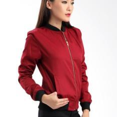 Harga Fashion Jaket Bomber Wanita Merah Polos Termahal