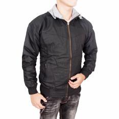 Fashion - Jaket DC Parasut Bolak Balik Keren - hitam - Abu