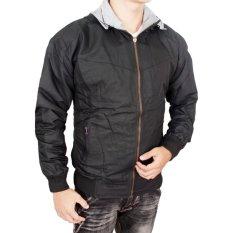 Fashion - Jaket DC Parasut Simple Bolak Balik - Abu-abu Muda - Hitam keren