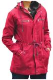 Model Fashion Jaket Parka Wanita Topi Lepas Merah Terbaru