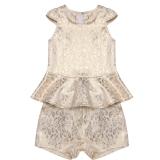 Jual Fashion Anak Anak Anak Bayi Gadis Dua Pieces Round Leher Cap Lengan Ruffle Tops Dan Leopard Elastis Pocket Shorts Set Grosir