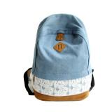 Diskon Fashion Lace Denim Women Canvas Backpack Schoolbag Dark Blue Not Specified Di Hong Kong Sar Tiongkok