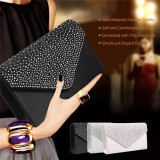 Jual Fashion Ladies Diamante Satin Clutch Bag Evening Party Shiny Bridal Bag Black Intl Oem Branded