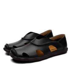 Jual Fashion Leather Casual Pria Sandal Sepatu Hitam Oem Asli