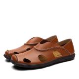 Dapatkan Segera Fashion Leather Casual Pria Sandal Sepatu Cokelat