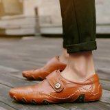 Spesifikasi Fashion Kulit Sepatu Bisnis Sepatu Pria Sepatu Kasual Mengemudi Sepatu Sneakers Brown Intl Murah