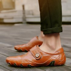 Spesifikasi Fashion Kulit Sepatu Bisnis Sepatu Pria Sepatu Kasual Mengemudi Sepatu Sneakers Brown Intl Yg Baik
