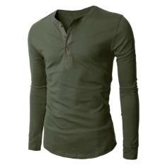 Daftar Harga Fashion Leisure Men S 3 Tombol Kaos Lengan Panjang Hijau Tentara Intl Oem