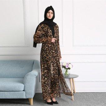Beli sekarang Fashion Sifon Macan Abaya Muslim Perempuan Wanita Kardigan Maxi Dress Robe Gown dengan Sabuk-Intl terbaik murah - Hanya Rp644.077