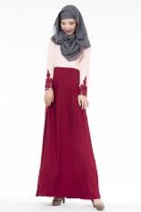 Modis Malaysia Muslim Wanita Etnis Murni Warna Abaya Jilbab Islam Flouncing Besar Gaun (Merah)-Internasional