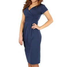 Fashion Maternity Clothes V-neck Short Sleeve Cotton Pregnancy Dress (Navy Blue) - intl