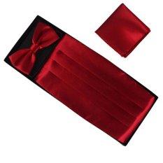 Jual Fashion Pria Cummerbund Adjustable Bow Tie Hanky Set Pernikahan Prom Tuxedo Formal Merah Anggur Internasional Tiongkok