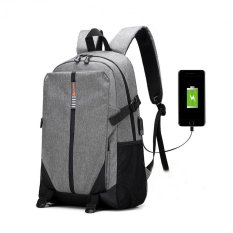 Fashion Pria Pengisi Daya USB Eksternal Ransel Kanvas Mahasiswa Tas Sekolah Paket untuk Remaja Laptop Kapasitas Besar Ransel Kasual Ransel Berpergian (Abu-abu)-Intl