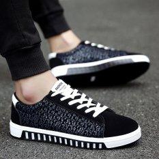 Review Fashion Sneakers Pria Musim Panas Bernapas Kanvas Sepatu Kasual Sepatu Biru Intl