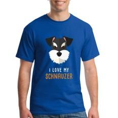 Fashion Mens Crewneck I Love My Schnauzer Pria T Shirts Tee Shirts Mens Baru Kedatangan Lengan Pendek Pakaian Pria Murah T Shirts Online Blue-Intl