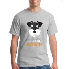 Fashion Mens Crewneck I Love My Schnauzer Pria T Shirts Tee Shirts Mens Baru Kedatangan Lengan Pendek Pakaian Pria Murah T Shirts Online Grey-Intl