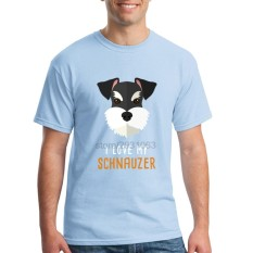Fashion Mens Crewneck I Love My Schnauzer Pria T Shirts Tee Shirts Mens Baru Kedatangan Lengan Pendek Pakaian Pria Murah T Shirts Online Biru Muda-Internasional