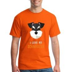 Fashion Mens Crewneck I Love My Schnauzer Pria T Shirts Tee Shirts Mens Baru Kedatangan Lengan Pendek Pakaian Pria Murah T Shirts Online Orange-Intl