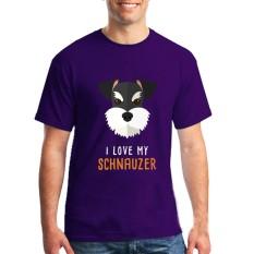 Fashion Mens Crewneck I Love My Schnauzer Pria T Shirts Tee Shirts Mens Baru Kedatangan Lengan Pendek Pakaian Pria Murah T Shirts Online Ungu-Intl