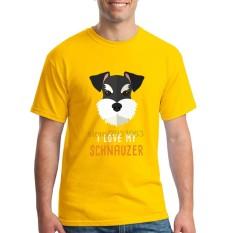 Fashion Mens Crewneck I Love My Schnauzer Pria T Shirts Tee Shirts Mens Baru Kedatangan Lengan Pendek Pakaian Pria Murah T Shirts Online Kuning-Intl