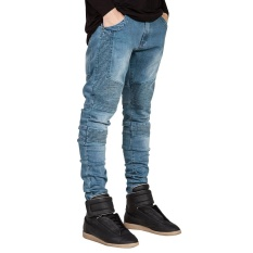 Fashion Mens Designed Straight Slim Fit Biker Jeans Pant Denim Trousers - intl