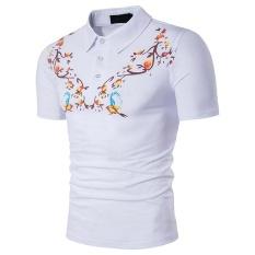 Busana Pria Polo Shirt Merek Slim Fit Kasual Cetak Solid Polo Shirt Pakaian Pendek Lengan Fashion Poloshirt Musim Panas- INTL