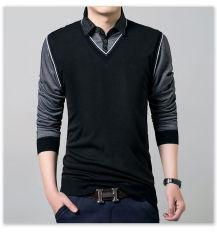 Miliki Segera Fashion Pria S Slim Fit Kemeja Kasual Lengan Panjang Katun Polo T Shirt Atasan Tee