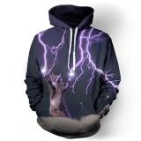 Fashion Pria Wanita 3D Sweatshirt Digital Printing Lightning Cat Meow Star Orang Berkerudung Lengan Panjang Cap Hoody Murah