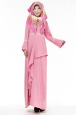 Modis Muslim Wanita Gaun Hui Ethnic Gaun Muslim Melayu Setelan (Merah Muda)-Internasional