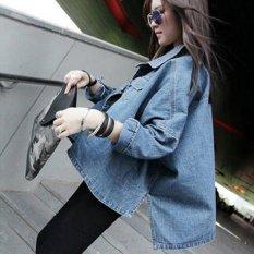 Beli Fashion Baru Jaket Denim Wanita Paragraf Pendek Lengan Batwing Wanita Blue Intl Oem Asli