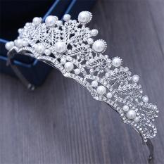 Fashion Baru Mutiara Berkilau Bridal Wedding Tiara Crown Bride Bulang Wanita Kontes Prom Queen Crown King Hair Dekorasi-Intl