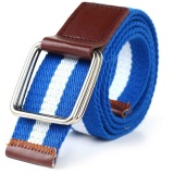 【Fashion Baru Style】Double Ring Kanvas Belt Buckle Unisex Casual Dirancang Untuk Muda Deep Biru Putih Biru Tua Intl Oem Diskon 40