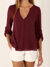 Beli Fashion Baru Wanita Lengan Panjang Blus Sifon Musim Panas Longgar Seksi Blus Solid Shirt Womens T Shirt Renda Atasan Kasual Cetak Tee Intl Online Murah