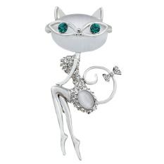 Fashion Berlian Tiruan Opal Kristal Kucing Kecil Bros Pin Hewan Lucu Perhiasan-Intl